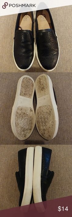 Daisy Fuentes Fansy Slip On Great Condition. Worn twice. Super Cute Black Slip Ons with Perforated Detail. Lots of life left in these adorable casual shoes. 😊 Daisy Fuentes Shoes Sneakers