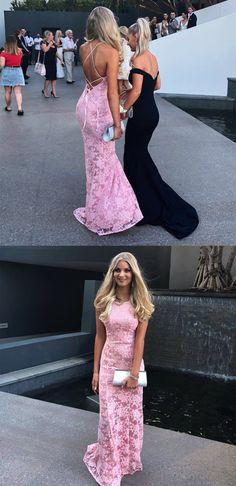 2018 pink lace long prom dress, gorgeous mermaid pink lace long prom dress formal dress wedding reception dress
