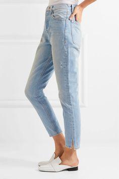 FRAME - Le Original Skinny Distressed High-rise Straight-leg Jeans - Blue - 28