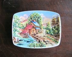 $24.50 - Vintage Wall Hanging Plate The Grist Mill Hand Painted #homedecor #americana #rustic