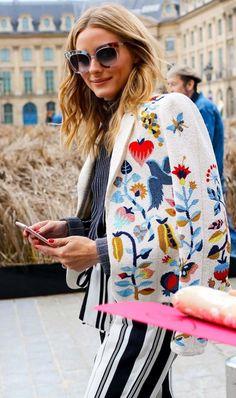 Olivia Palermo in a Schiaparelli jacket.