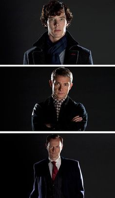 Benedict Cumberbatch as Sherlock; Martin Freeman as Watson; and Mark Gatiss as Mycroft