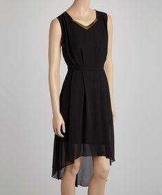 Love this Black Embellished Hi-Low Dress - Women by Lapis on #zulily! #zulilyfinds