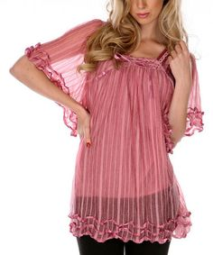 Look at this #zulilyfind! Pink Ruffles & Ribbon Sheer Tunic by Lily #zulilyfinds