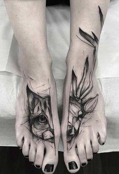 Kamil Mokot cat and deer tattoo - Kamil Mokot - Gatos Head Tattoos, Wolf Tattoos, Animal Tattoos, Sleeve Tattoos, Tattoo Diy, Epic Tattoo, Deer Tattoo, Cat And Dog Tattoo, Kitten Tattoo