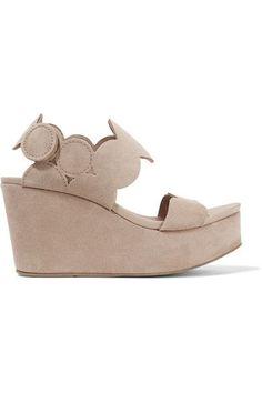 Pedro Garcia - Dyane Suede Wedge Sandals - Neutral - IT36.5