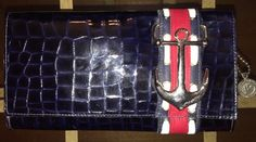 LeatheRock Patent Leather Clutch Nautical Anchor MINT! I Suede Inside Ykk Zipper  | eBay