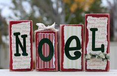 This looks easy to make. Paint some scrap wood red, glue on scrapbook paper, write Noel on the blocks, add finishing touches.