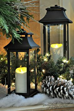 Christmas Mantel Lanterns 2012 by Serendipity Refined