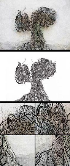 Tree of life #1 - Rapidograph, encres aquarelles et Photoshop - #drawing #illustration