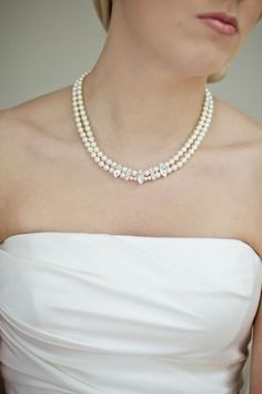 Double strand pearl necklace classic rhinestone by LHGDesigns, $140.00