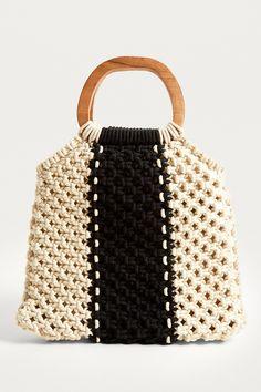 Macramé Wood Handle Bag | Urban Outfitters