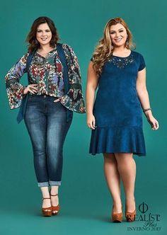 E para quem acha que mulher plus size não pode usar jeans, aí está duas opções, sendo uma com calça jeans plus size e outra vestido jeans plus size.