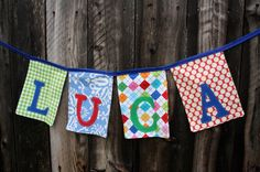 Personalized Fabric Name Banner Garland  by roundthebendagain, $17.00