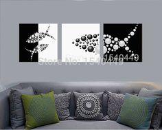 3 unidades pintado a mano negro blanco lona pintura abstracta de los pescados pintura del arte pop de cuadros modernos baratos decoración de la pared 375