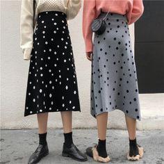 ドット柄ウエストゴムルーズニットAラインスカート Wallpaper Backgrounds, Midi Skirt, Skirts, Sweaters, Fashion, Moda, Midi Skirts, Fashion Styles, Skirt
