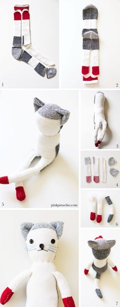Sock Animals: Took me a minute to realize that step one is one sock and step two is the other sock. takes two socks to make the cat Sock Crafts, Fabric Crafts, Fun Crafts, Crafts For Kids, Arts And Crafts, Sewing Toys, Sewing Crafts, Baby Sewing, Craft Projects
