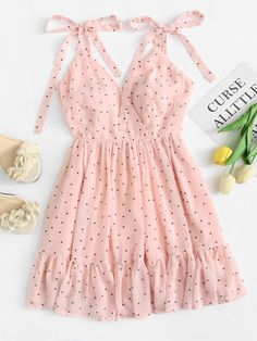 Polka Dot Ruffle Hem Cami Dress - Summer Dresses for Women Cute Summer Outfits, Trendy Outfits, Trendy Fashion, Korean Fashion, Summer Dresses, Womens Fashion, Pink Fashion, Fashion Styles, Fashion Fashion