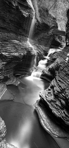 Watkins Glen State park - Watkins Glen New York. Large format (4x5) image shot using a Linhof Technica IV field camera and black and white film.
