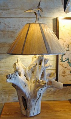 Custom made cedar weathered driftwood lamp produced from a beachcombed section found on the shores of the Rappahannock River. The driftwoods...