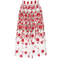 Naeem Khan     Floral Embroidered Eyelet Skirt (€3.730) ❤ liked on Polyvore featuring skirts, floral, long midi skirt, white eyelet maxi skirt, high-waisted skirts, high-waist skirt and high-waisted maxi skirt