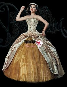 Ivory and gold wholesale 2016 new sweet 15 dress satin and tulle embroidery quinceanera ball gown with detachable shoulder strap BS-1507