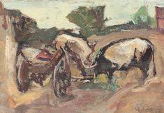 Gheorghe Petrașcu - Gospodărie 1 Decembrie, Noiembrie, 1 Mai, Vintage Artwork, Europe, Painting, Czech Republic, Slovenia, Impressionism