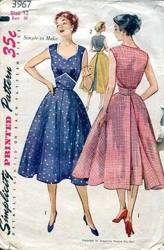 Sewing Patterns,Vintage,Out of Print,Retro,Vogue Simplicity McCall's,Over 7000 - Simplicity 3967 Retro 1950's Walk A Way Wrap Dress Rare!