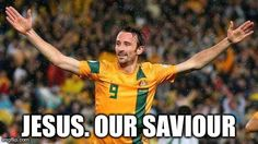 Josh Kennedy, Australian super scores the goal that sends the Socceroos to the Brazil 2014 FIFA World Cup!