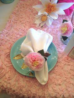 Set of 4 Paper Flower Napkin Rings by ALittleMerriment on Etsy