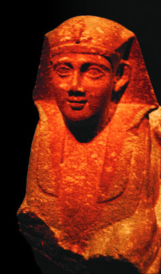 This statue  from Cleopatra's temple was discovered on the sea floor near Alexandria, EGYPT.