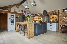 Bespoke kitchens by The Main Company. Handcrafted kitchens made from modern materials or reclaimed quality woods in their yorkshire workshops Funky Kitchen, Cosy Kitchen, Barn Kitchen, Home Decor Kitchen, Rustic Kitchen, Kitchen Interior, New Kitchen, Home Kitchens, Brick Wall Kitchen