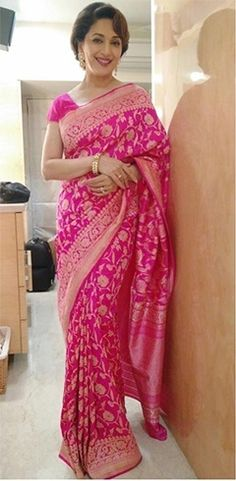 Madhuri Dixit Looks Exceptionally Beautiful In A Banaras Saree By Ritu Kumar
