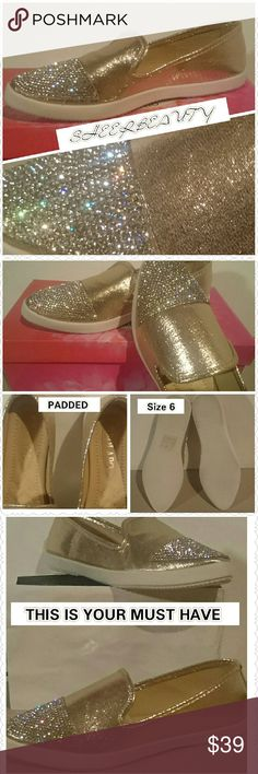 FLOAT IN SLIP ONS YOUR MUST HAVE Glimmering Shoes That Allow You 24 HOUR WEAR. Who Said BEAUTIFUL FOOTWEAR HAS TO HURT.  What can I say...  These are Simply Gorgeous  The Padding. Is Cushy Shoes