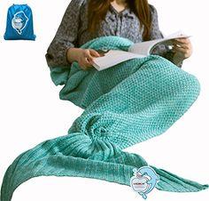 """nice LAGHCAT All Seasons Mermaid Tail Blanket Knit Crochet and Cool color Mermaid Blanket for Adult,Sleeping Blankets (71""""x35.5"""", vivid green)"""