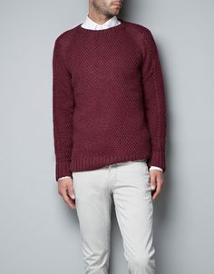 CRIMSON FITTED SWEATER - Knitwear - Man - ZARA United States- grooms wear