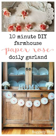 Make a 10 Minute DIY Farmhouse Paper Rose Doily Garland to add some farmhouse charm to your Valentine, wedding or any romantic occasion | #InspirationSpotlight