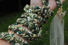 Handfasting cord in shades of green with interwoven by BindingTies