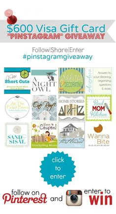 Pinstagram $600 Visa Card Giveaway! Entries on Pinterest and Instagram! #pinstagramgiveaway We would LOVE to decorate our new home!!! Visa Gift Card, Craft Tutorials, Diy Home Decor, Instagram Giveaway, Pin Logo, Giveaways, Gift Card Giveaway, Enter To Win, Diy Interior
