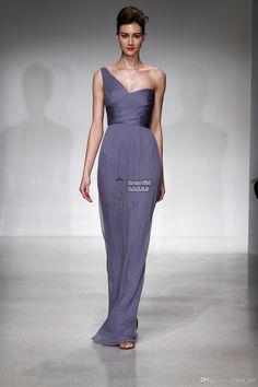 Wholesale Bridesmaid Dress - Buy Hot Selling Mermaid One Shoulder Floor  Length Pleat Purple Chiffon Bridesmaid 991e0988e