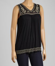 Look what I found on #zulily! Black Embroidered Tank - Plus by Simply Irresistible #zulilyfinds
