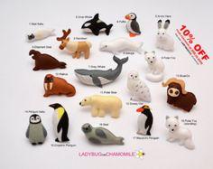 ARCTIC ANIMALS felt magnets Price per 1 by LadybugOnChamomile