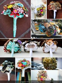 Brooch Wedding Bouquet - I have loved this idea ever since I have seen it. Even though I am far from being ready to get married I have already started collecting brooches. My Mema (great-grandmother) gave me 2 brooches... one was one that she wore on her wedding day... and I shall have it for mine :)