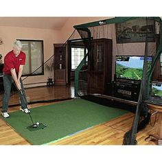 Home Golf Simulator Package - Play golf every day all year long with the OptiShot 2 Home Golf Simulator Package from Rain or Shine Golf. Home Golf Simulator, Indoor Golf Simulator, Indoor Putting Green, Backyard Putting Green, Pitching Mound, Golf Practice Net, Golf Room, Golf Putting Tips, Golf Simulators