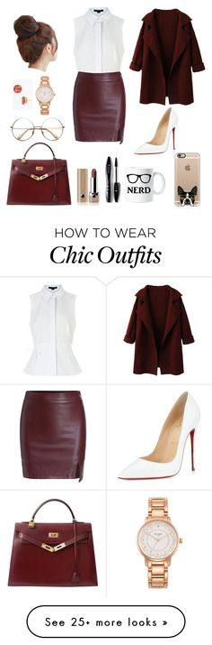 """Chic Librarian"" by eliza-abedi on Polyvore featuring Kate Spade, Alexander Wang, Pin Show, WithChic, Christian Louboutin, Hermès, Casetify, Marc Jacobs, Lancôme and women's clothing"