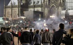 Crowds of people outside Cologne Main Station in Cologne December 31, 2015
