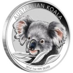 Australian Koala 2014 1oz Silver Coloured Coin in Card