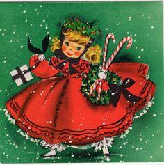 Hallmark Pretty Lady Girl Woman Dress Candy Cane NOS VTG Christmas Greeting Card | eBay