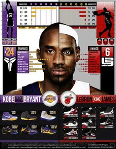 An information graphic that condenses the career statistics of Kobe Bryant and Lebron James into a visually pleasing way that is easy to understand.