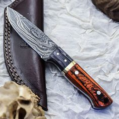 ALONZO KNIVES USA CUSTOM HANDMADE DAMASCUS TACTICAL HUNTING KNIFE PAKKA WOOD 345 #AlonzoKnives